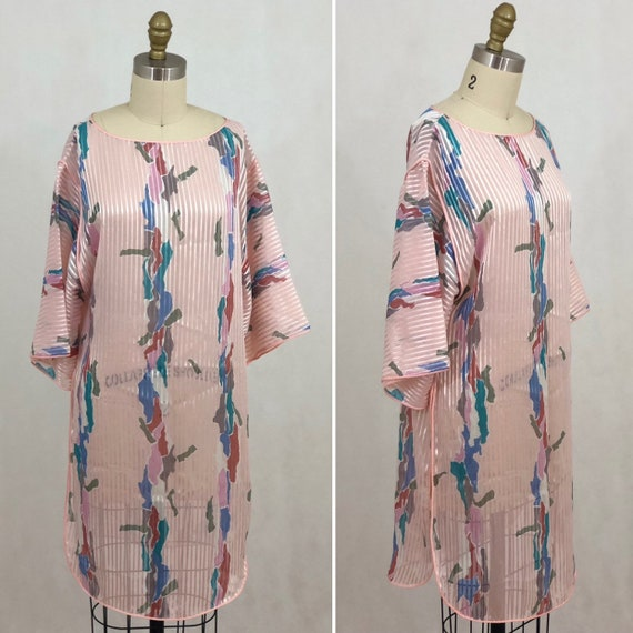 Vintage Mary McFadden Sheer Pink Tunic Dress