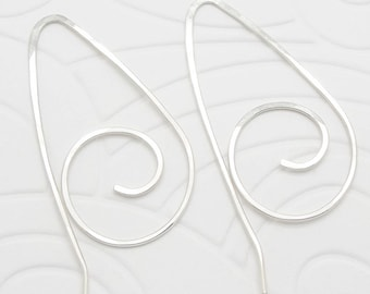 Spiral Sterling Silver Wire Earrings in the Pull Through Style
