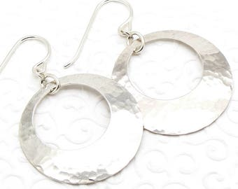 Hammered Disc Go Go Earrings in Sterling Silver that are Medium Size