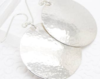 Medium Large Disc Earrings in Hammered Sterling Silver in the 1-1/4 Inch Size