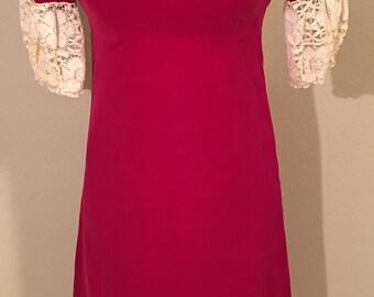 Sz 4 Handmade Raspberry Sherbet Satin and Lace Dress