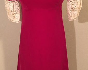 Vintage 1960-70s Era Velveteen Dress with Lace Sleeves - Size XS-S - Raspberry Pink - Cream Lace - Front Scoop Neck - Full Zip Back