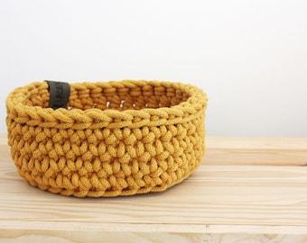 Utensilo Crochet Basket mustard/mustard yellow - Basket Basket crocheted Storage Wool basket Order