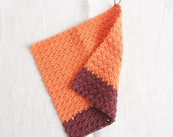 Rinse cloth orange-bordeaux - washing cloths/washcloths made of wool, reusable, washable, sustainability