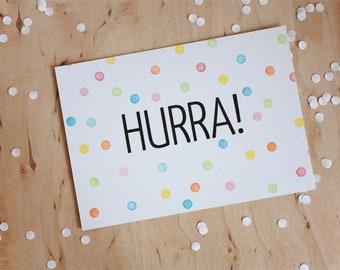 """Postcard """"Hurra!"""" - Confetti Birthday Invitation Celebration Party"""