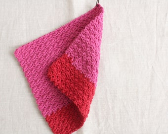 Rinse cloth pink-red - washing cloths/washcloths made of wool, reusable, washable, sustainability