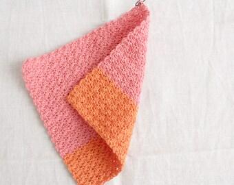 Rinse cloth coral-orange - washing cloths/washcloths made of wool, reusable, washable, sustainability