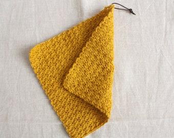 Rinse cloth mustard - washing cloths/washcloths made of wool, reusable, washable, sustainability