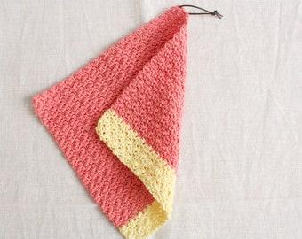 Rinse cloth coral-lemon yellow - washing cloths/washcloths made of wool, reusable, washable, sustainability