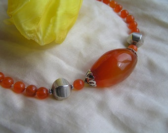 Carnelian Bead Necklace with 925 silver beads