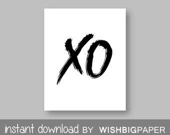 30%OFF!! XO Wall Art Print - Instant Download - Black White Wall Art. Typography Art. Printable Art. Hugs and Kisses. xo wall art. xo prints