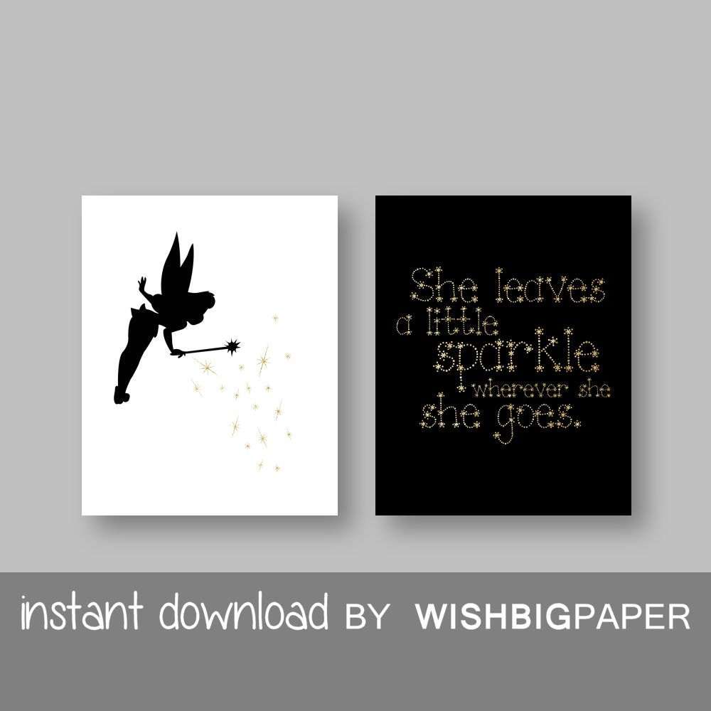 Tinkerbell Quote Wall Art Print Instant Download Set Of Two Etsy