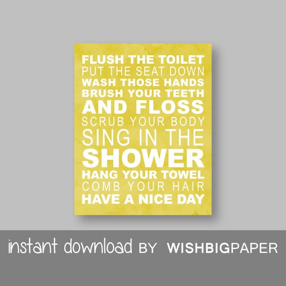 Family Rules Wall Art Print-Instant Download-Bathroom Rules  Print Mustard Yellow White Typography Poster House Rules Bath Print