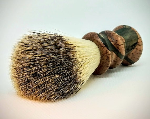 Vegan Shaving Brush - Hand Turned, Segmented Tornillo and Spalted Spruce, Crafted with 100% Animal-Friendly Bristles