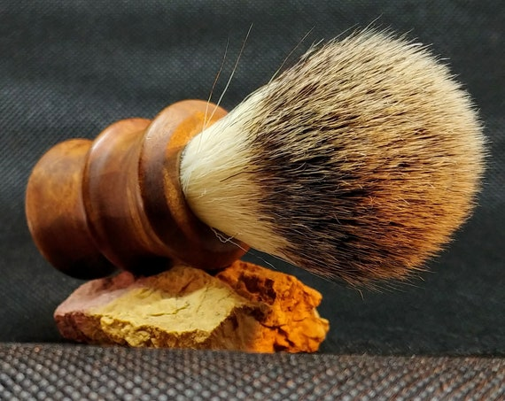 Vegan Shaving Brush - Hand Turned Pacific Madrone Burl and Crafted with 100% Animal-Friendly Bristles