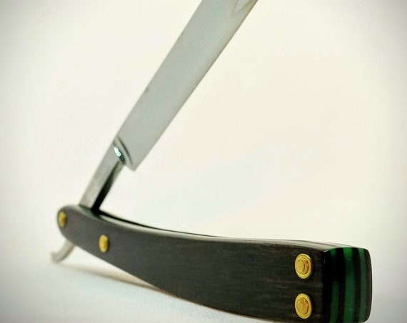Unique Restored African Blackwood and Acrylic Straight Razor with Shave Ready Vintage Blade