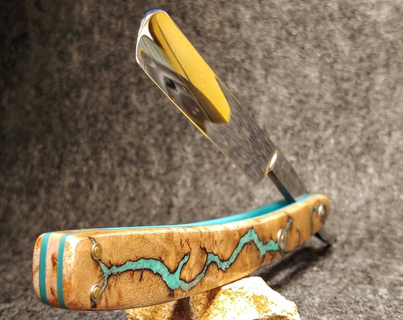Turquoise Inlaid Western Maple Burl One-of-a-Kind Straight Razor with Restored Vintage Blade