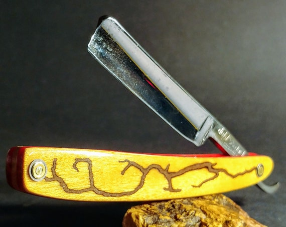 Striking Yellowheart and Red with Jasper Inlay, Shave-Ready, Restored, Vintage Straight Razor