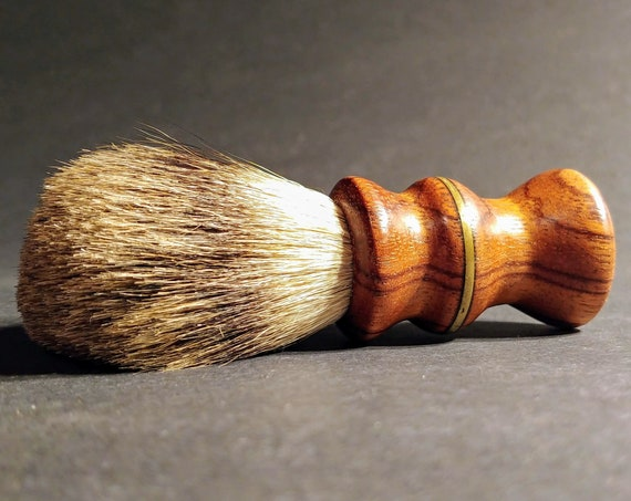 Shaving Brush - Hand-Turned Ebiara Handle with Brass Inlay & Crafted with 100% Pure Badger Bristles