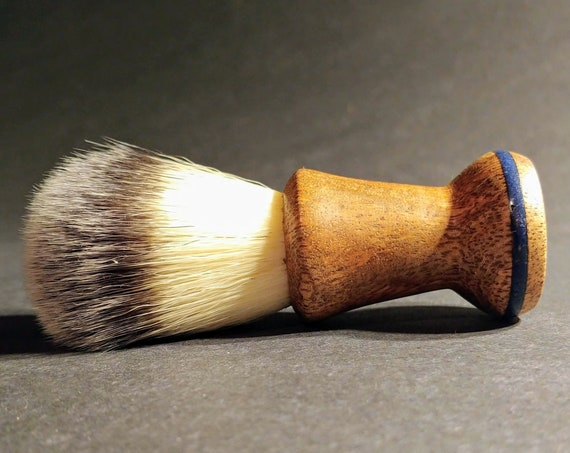 Hand-Turned, Figured Mango with Lapis Inlay - Vegan Shaving Brush Crafted with 100% Animal-Friendly Bristles