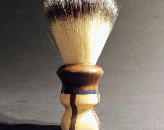 Vegan Shaving Brush - Hand-Turned Aspen and Walnut with Lapis Inlay- Crafted with 100% Animal-Friendly Bristles