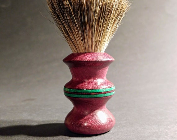 Shaving Brush - Hand-Turned Purpleheart Handle with Malachite Inlay & Crafted with 100% Pure Badger Bristles