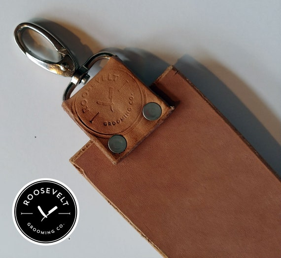 Handmade Veg-Tanned Cowhide Razor Shaving Strop with Padded Handle