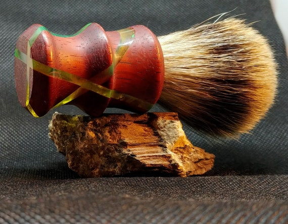 Shaving Brush - Hand-Turned, Segmented Padauk and Acrylic Handle - Crafted with 100% Pure Badger Bristles