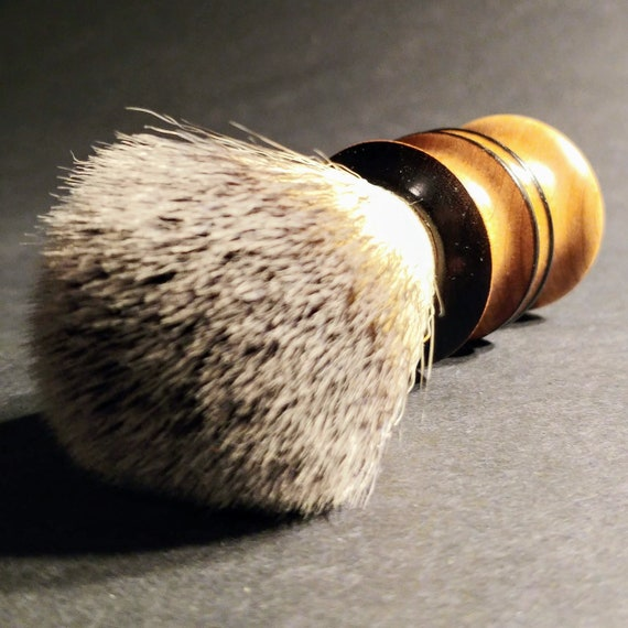 Vegan Shaving Brush - Hand-Turned Flame Birch - Crafted with 100% Animal-Friendly Bristles