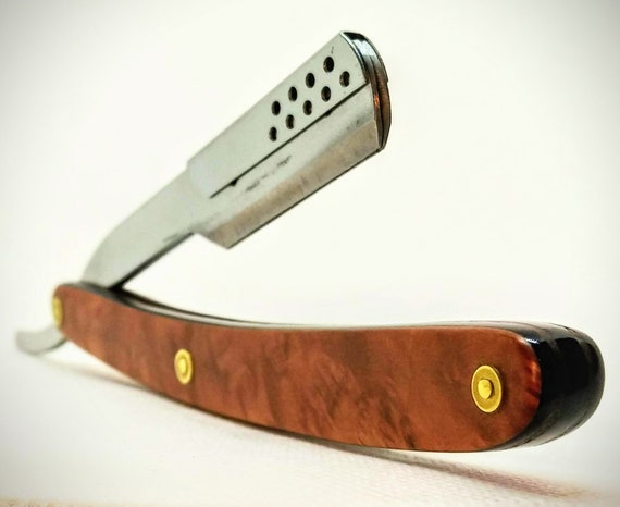 Stunning Pacific Madrone Burl, Acrylic and Walnut Straight Razor with Shavette-Style Replaceable Blade