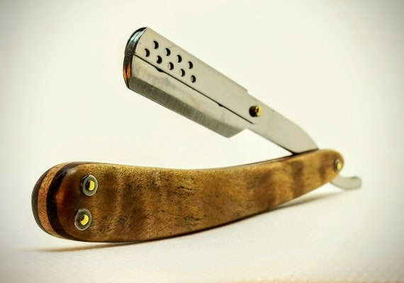 Incredible Shavette-Style Straight Razor with Bocote and Western Maple Burl Scales and Replaceable Blade
