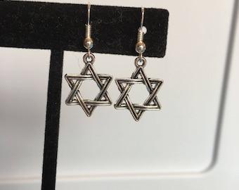 Silver Star of David earrings