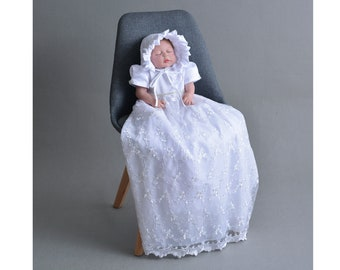 bca3116d1 Tradition Baby Long White Ivory Lace Christening Gown Bonnet 0-3 3-6 6-9  Months