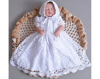 e40a08c79b8a2 Baby Girls Lace Christening Gown Party Dress and Bonnet 0 3 6 9 12 Months