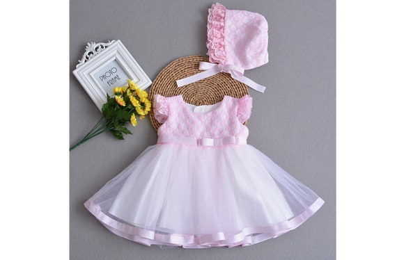 New Baby Girls Floral Cotton Party Dress in Pink,White From 3-6 to 12-18 Months