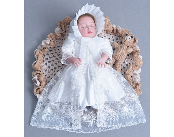 Tradition Baby Long White Ivory Lace Christening Gown Bonnet 0-3 3-6 6-9 Months