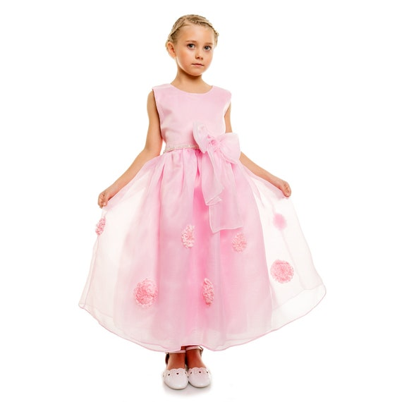 Cinda Girls White and Hot Pink Flower Party Dress in 4 5 6 7 8 Years