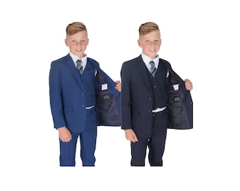 5 Piece Navy Blue Checked Suit Wedding Suit Prom Page Boy Suit Formal 2-12 Years