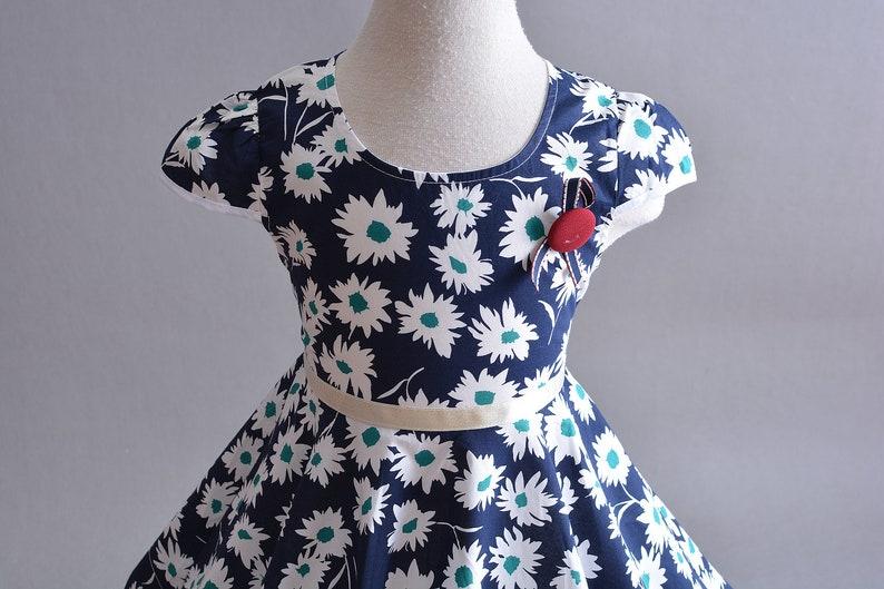 Girls Daisy Summer Cotton Party Dress Blue Red