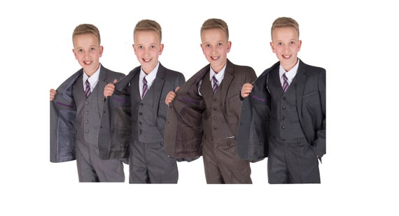 5 Piece Checked Boys Suits Wedding Prom PageBoy Suit Navy Blue Beige 2-12 Year