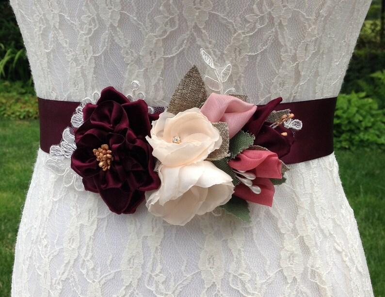Floral Bridal Sash in Burgundy Blush 0122NW and Pink with Ribbonwork Rose /& Buds on Lace Applique Burgundy Wine Wedding Dress Sash Belt