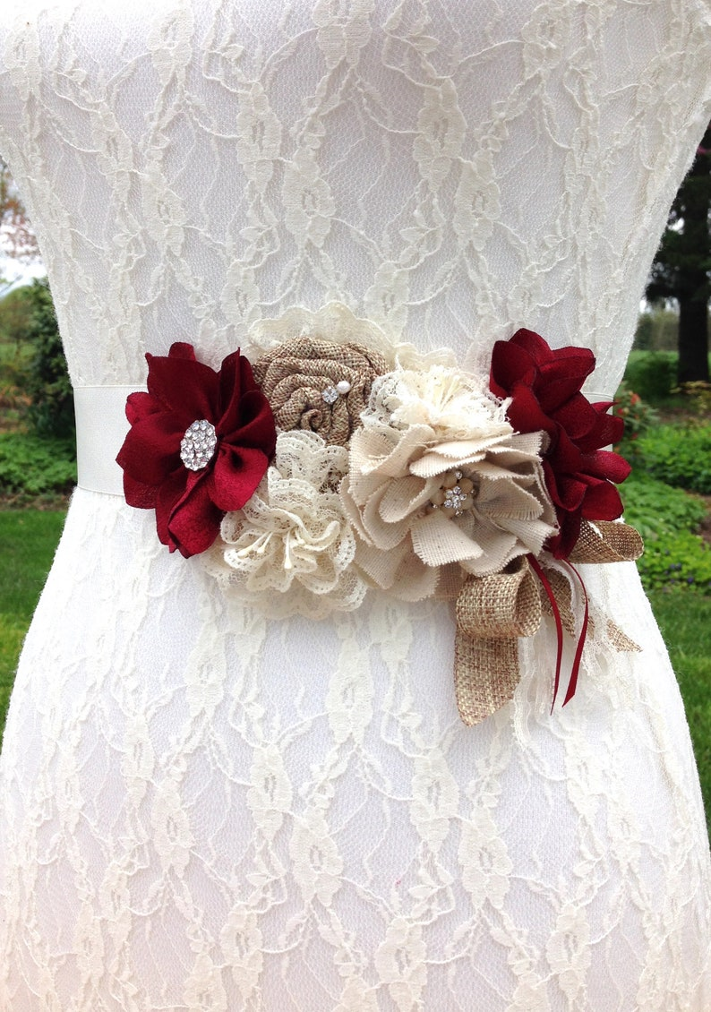 Rustic Burgundy Wedding Dress Sash Floral Dark Red Country Etsy