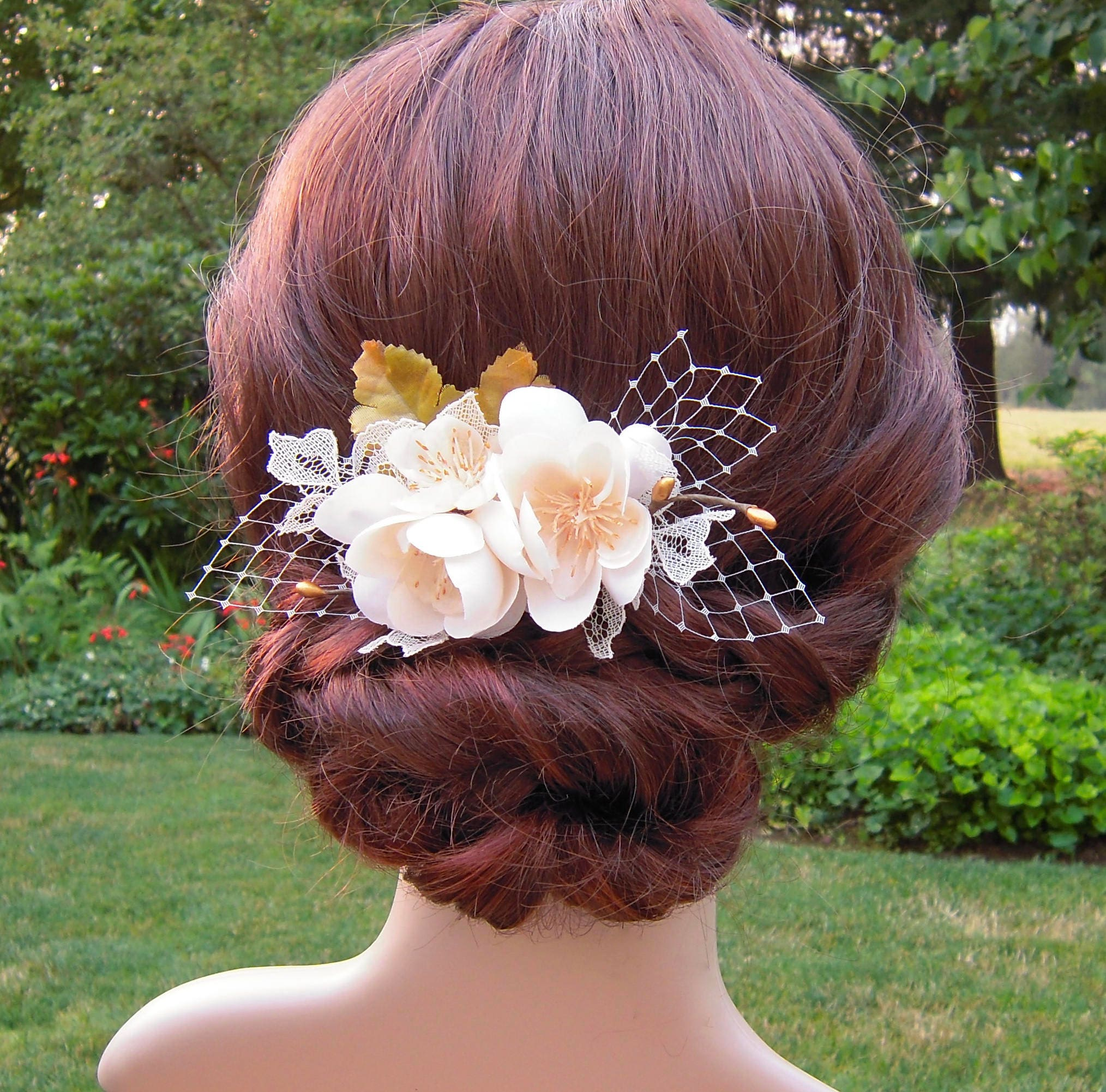 Ivory Flower Hair Clip Wedding: Ivory Flower Hair Clip Ivory & Gold Bridal Hair Clip With
