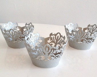 12 Silver Damask Shimmer Laser Cut Cupcake Wrappers, 12 ct Grey Cupcake Wrap