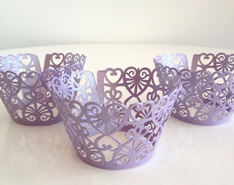 12 Purple Lace Heart Shimmer Laser Cut Cupcake Wrappers, 12 ct - Lavender Cupcake Wrap
