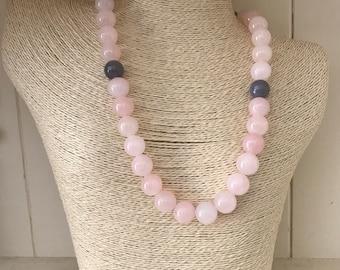 Fabulous, chunky pink and smoky grey quartz statement necklace