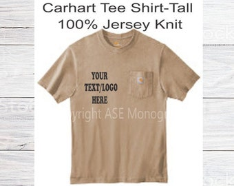 d5c8a0d2ac Carhartt Tall Workwear Pocket Tee Shirt, Jersey T-Shirt, Available in Many  Colors, Can Be Personalized