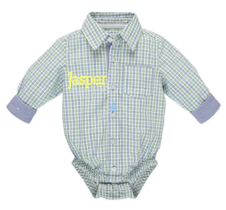 Diaper Shirt Plaid Diaper Shirt 0-6 Months 100/% Cotton Can be Personalized Baby Ganz