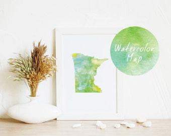 State map Minnesota Print | State Map Print, Printable map, Watercolor art, Green Wall Art, USA gift, Print at home, Printable gift, Map art