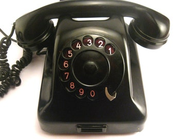 Vintage Rotary Phone, Black Dial phone, Bakelite Phone, Vintage Telephone, Iskra Yugoslavia, Mid Century Phone, 1950s